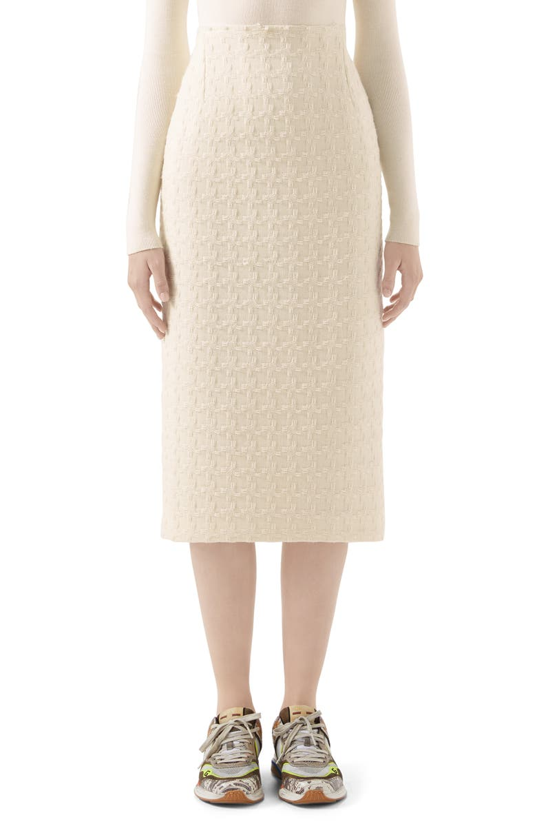 GUCCI Houndstooth Tweed Wool Blend Pencil Skirt, Main, color, WHITE SNOW