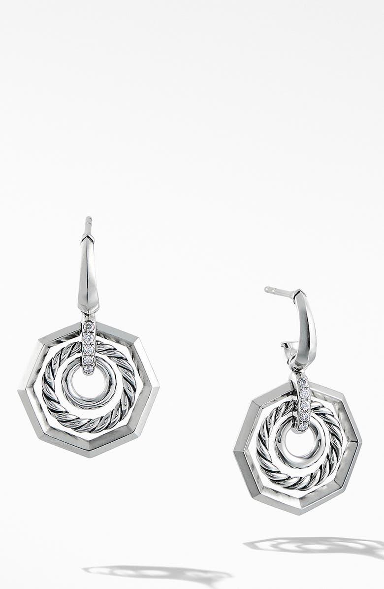 DAVID YURMAN Stax Drop Earring with Diamonds, Main, color, SILVER/ DIAMOND