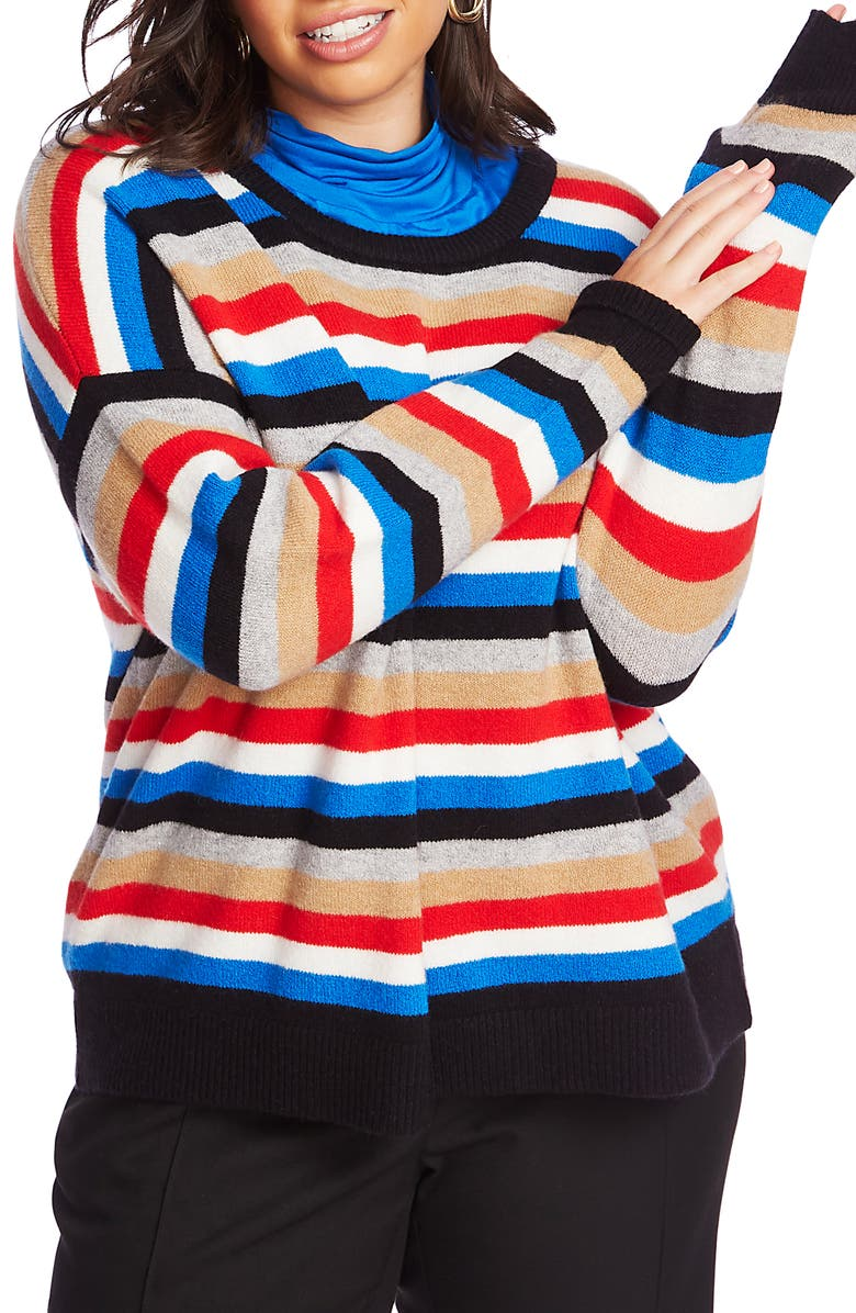 COURT & ROWE Multistripe Crewneck Sweater, Main, color, PREPPY RED