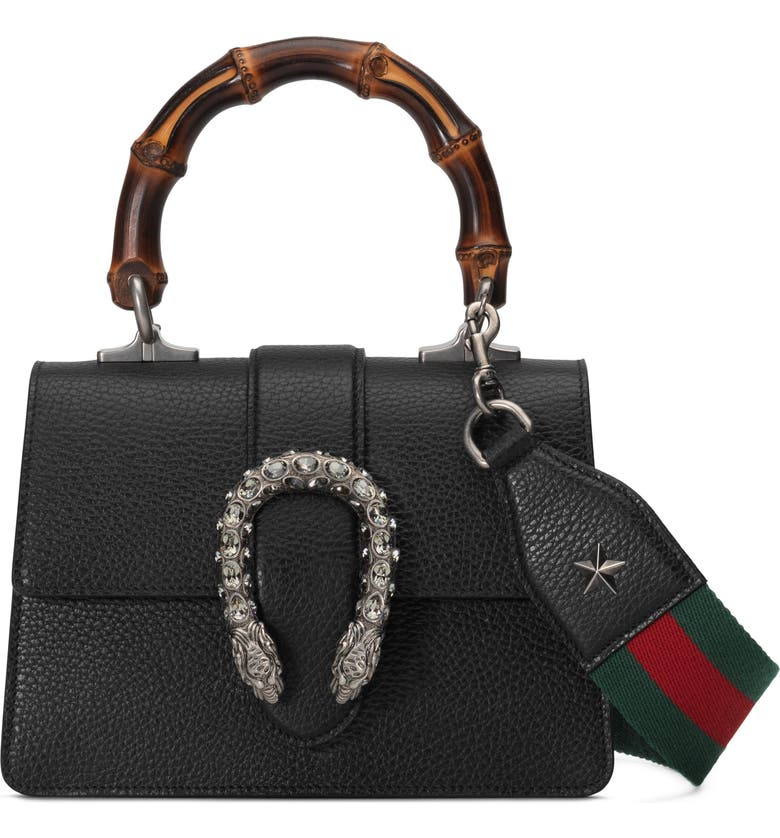 GUCCI Mini Leather Top Handle Satchel, Main, color, NERO/ VERT RED/ BLACK DIAMOND