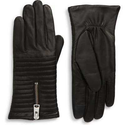 Allsaints Estella Quilted Leather Touchscreen Gloves, Black