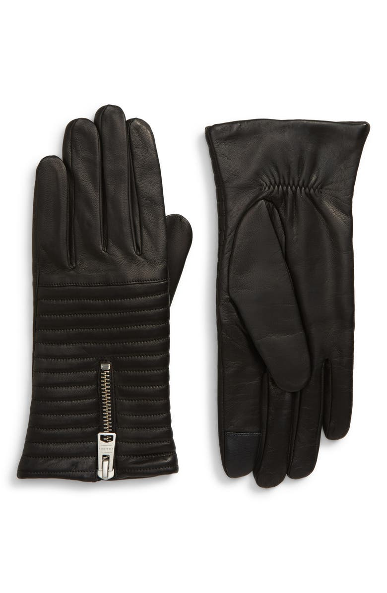 ALLSAINTS Estella Quilted Leather Touchscreen Gloves, Main, color, BLACK