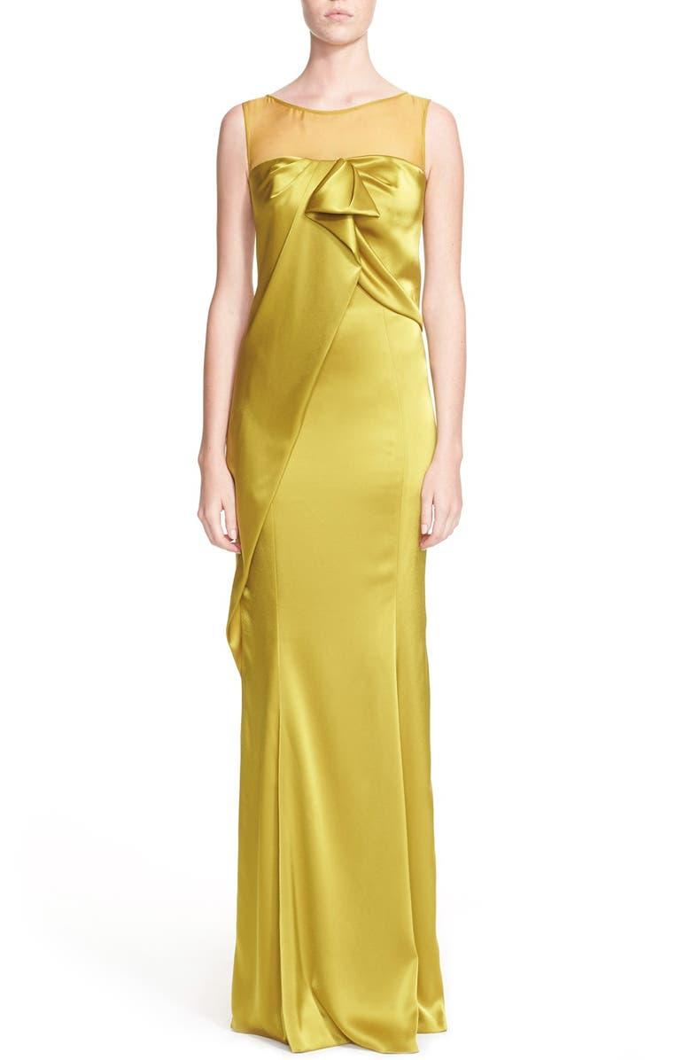 ST. JOHN COLLECTION Drape Detail Liquid Satin Gown, Main, color, 320