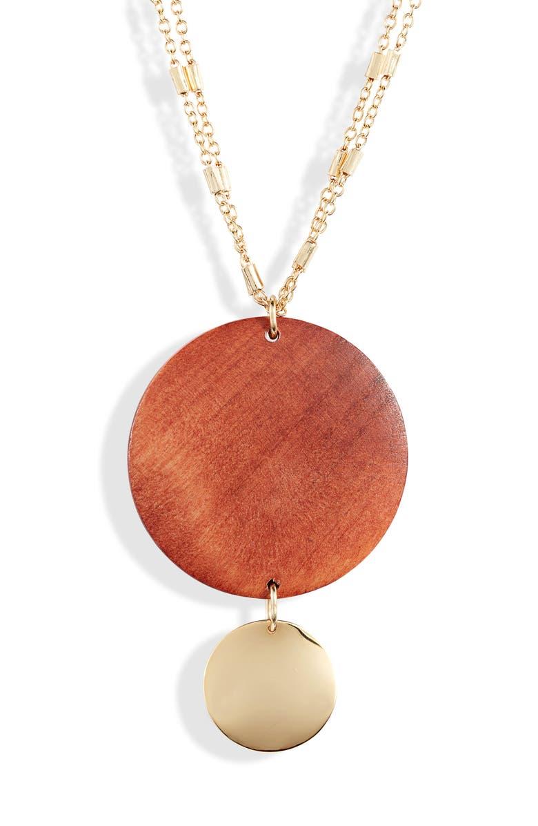 ETTIKA Wood Pendant Necklace, Main, color, BROWN