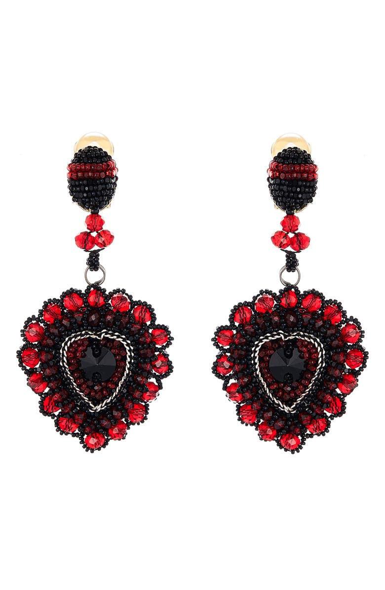 OSCAR DE LA RENTA Embellished Heart Drop Earrings, Main, color, CAYENNE