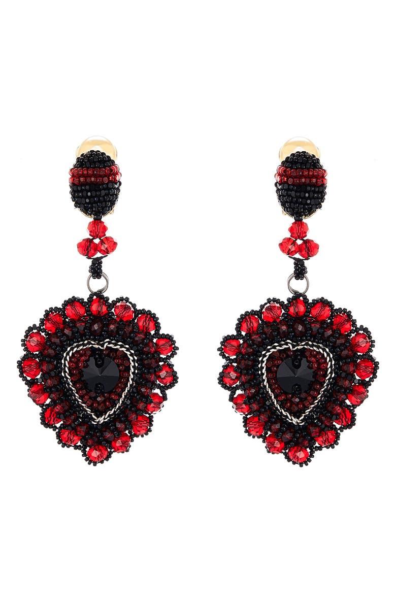 OSCAR DE LA RENTA Embellished Heart Drop Earrings, Main, color, 600