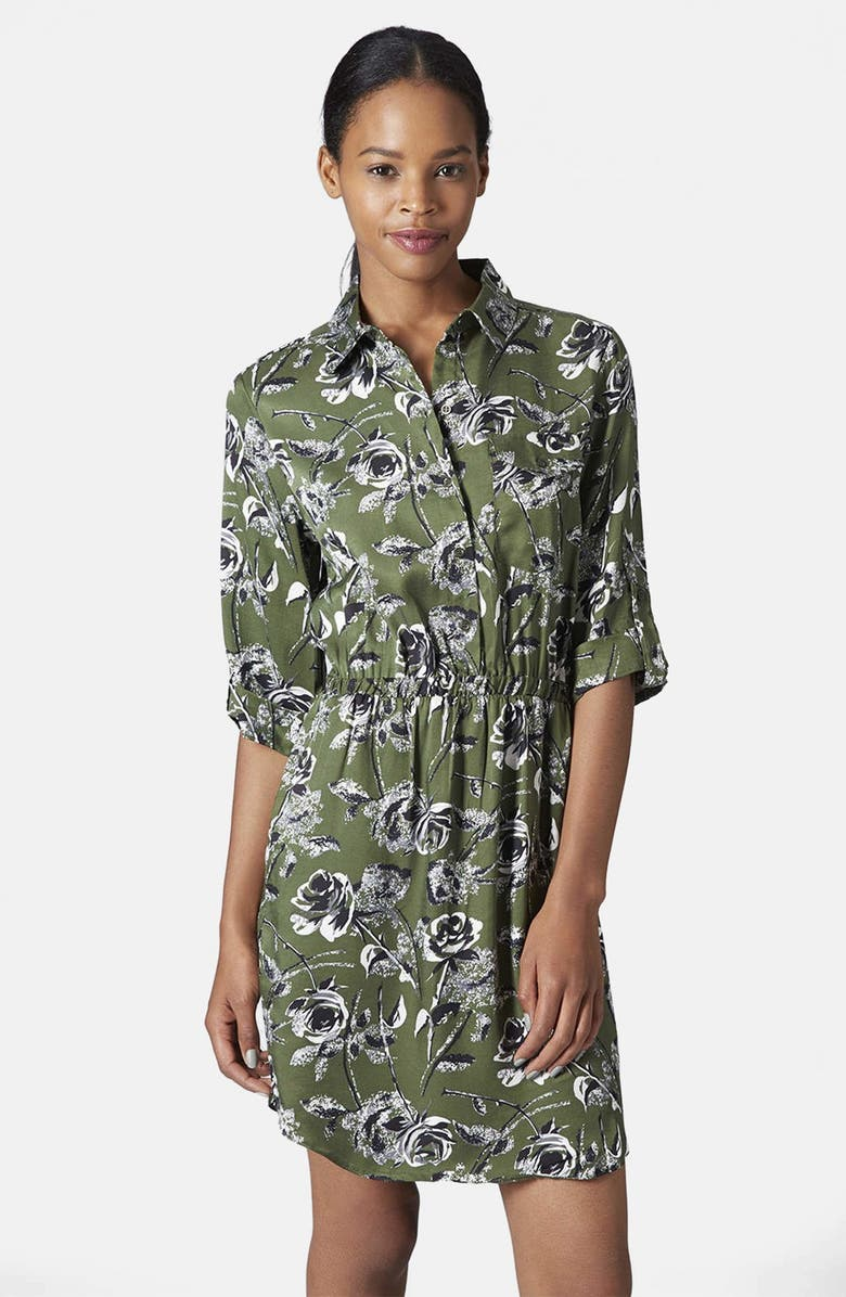 TOPSHOP Floral Print Shirt Dress, Main, color, 300
