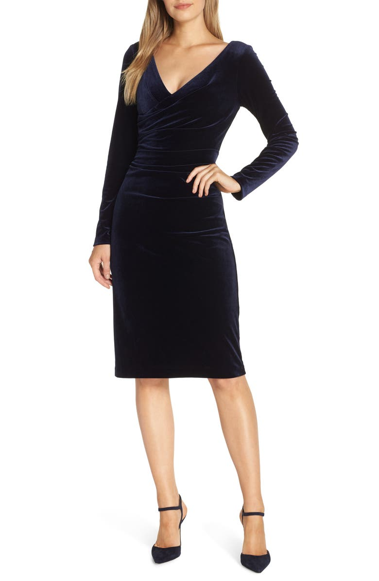 VINCE CAMUTO Long Sleeve Ruched Stretch Velvet Dress, Main, color, 410