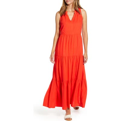Tommy Bahama Lena Tiered Linen Blend Maxi Sundress, Red