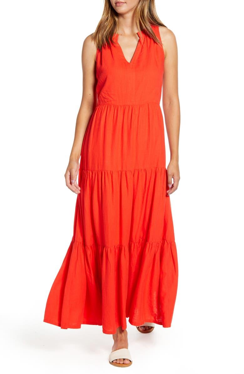 TOMMY BAHAMA Lena Tiered Linen Blend Maxi Sundress, Main, color, POPPY RED