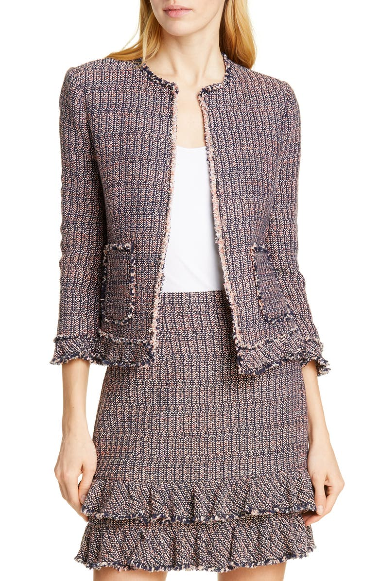 REBECCA TAYLOR Ruffle Tweed Jacket, Main, color, 409