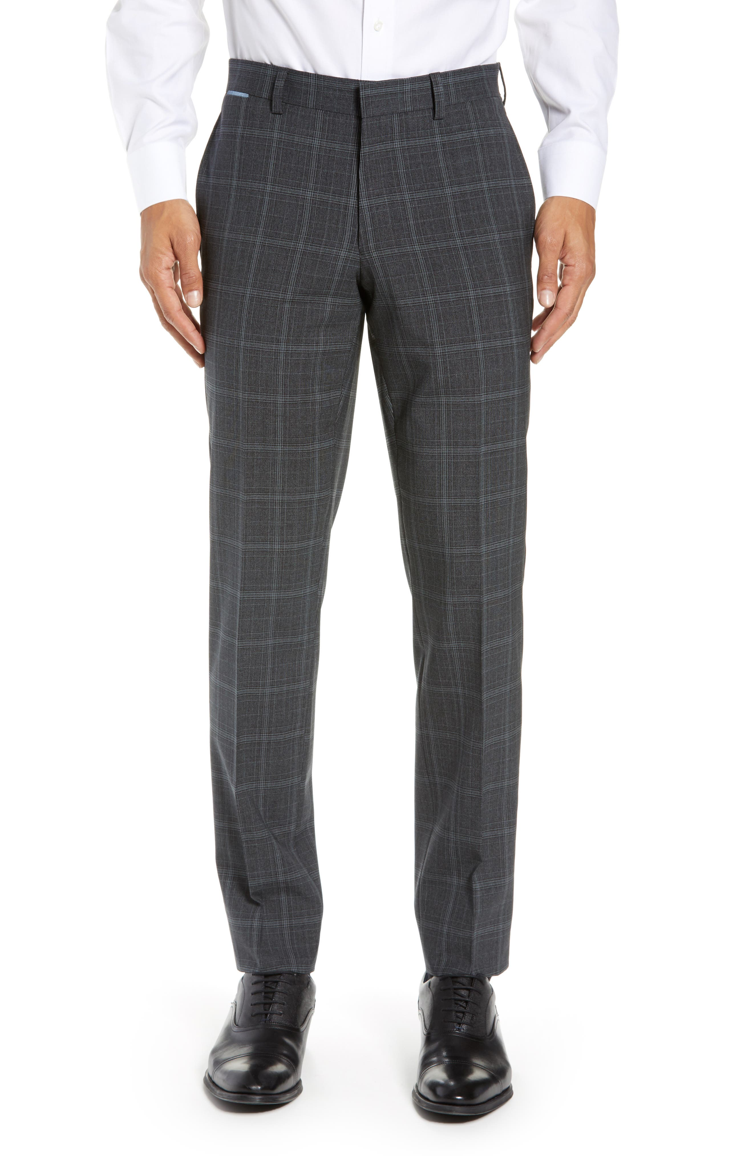 Reese Flat Front Plaid Wool Trousers, Main, color, GREY
