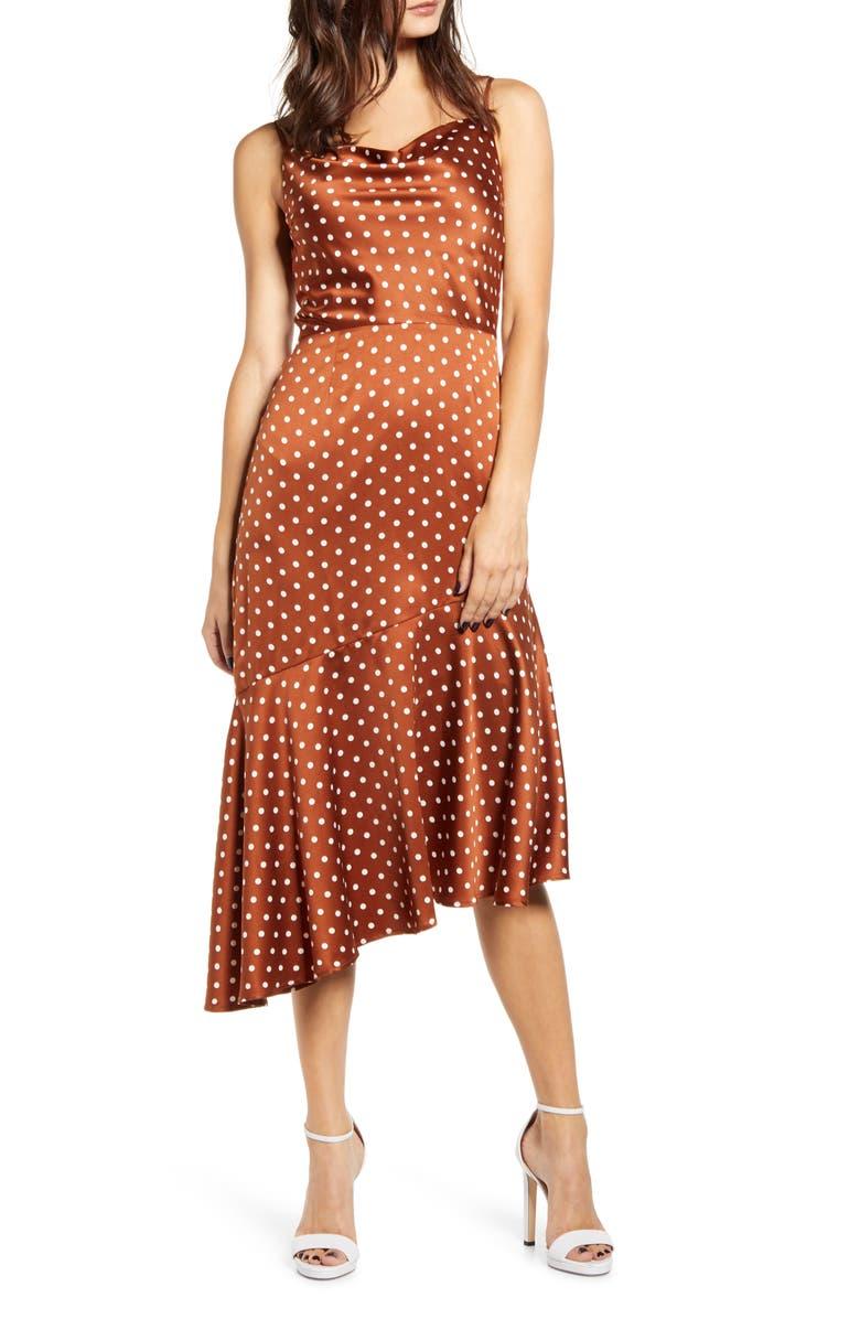 J.O.A. Cowl Neck Midi Dress, Main, color, RUST DOT