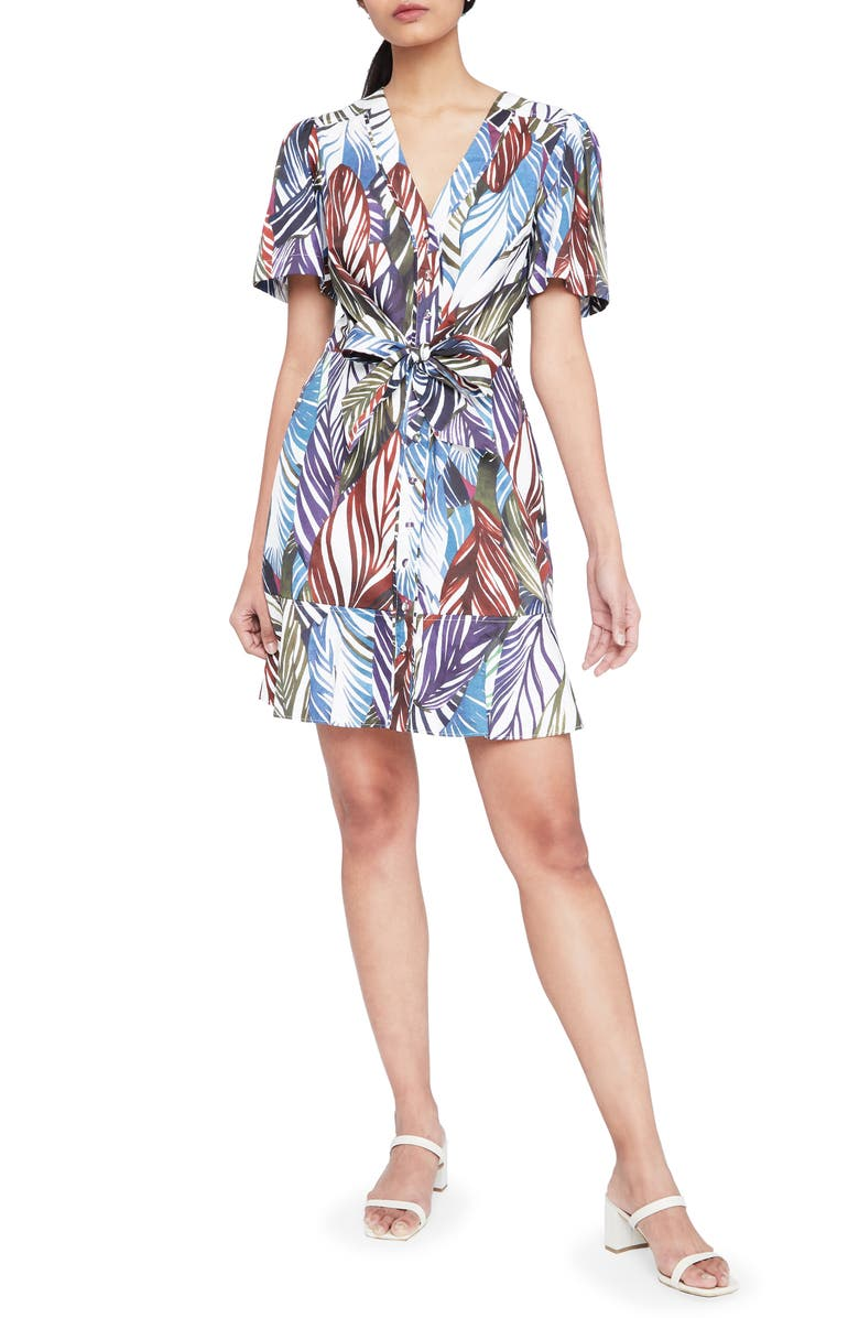PARKER Sheila Feather Print Cotton Shirtdress, Main, color, 611