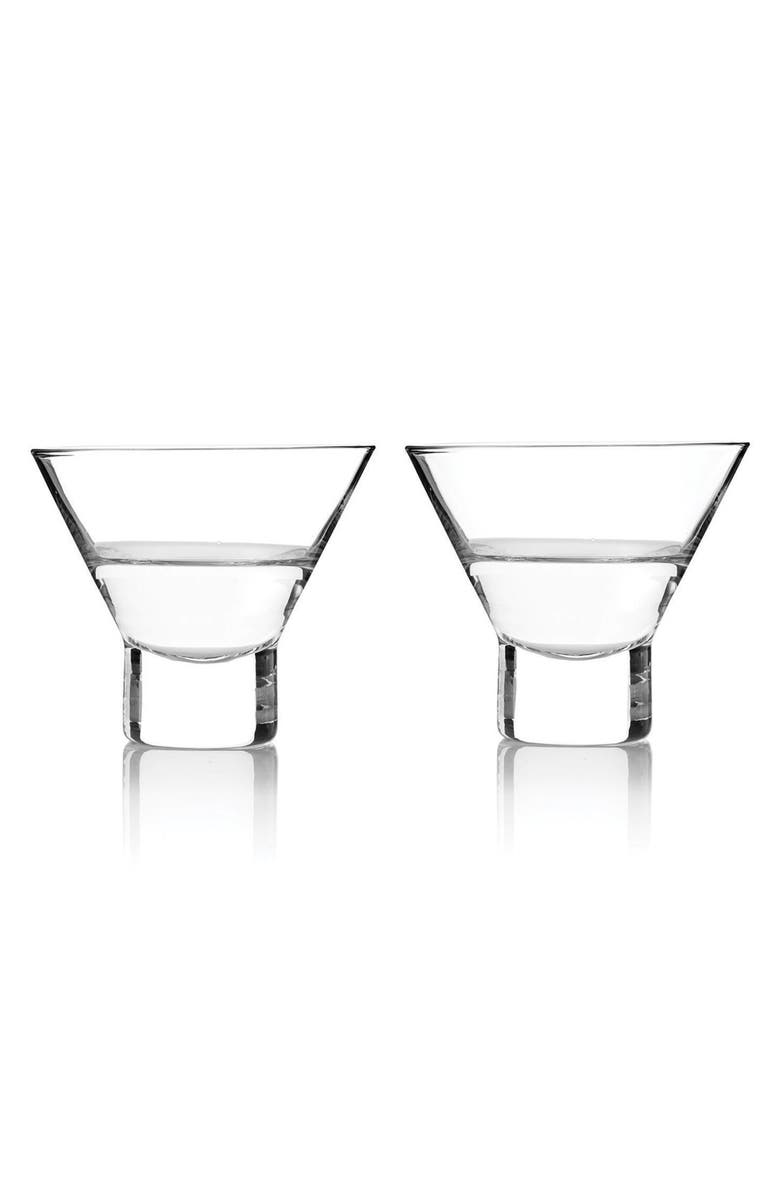 VISKI by True Fabrications Stemless Martini Glasses, Main, color, WHITE