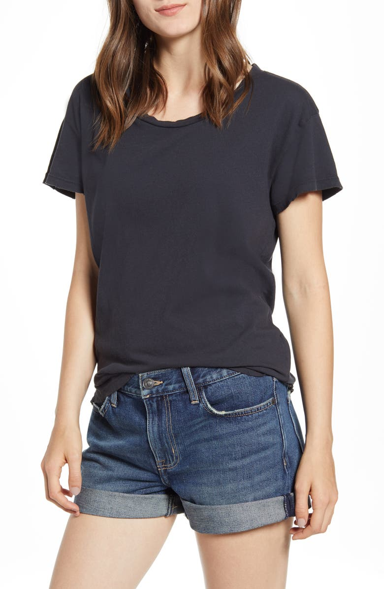 CURRENT/ELLIOTT The Relaxed Crewneck Tee, Main, color, CAVIAR