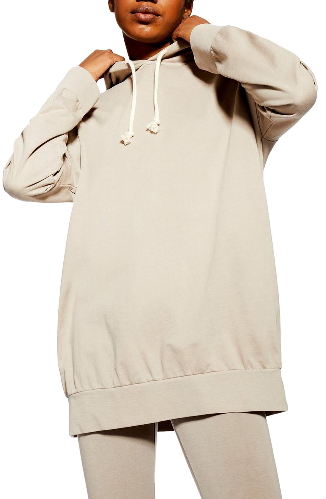 ,                             Oversize Lounge Hoodie,                             Main thumbnail 1, color,                             STONE