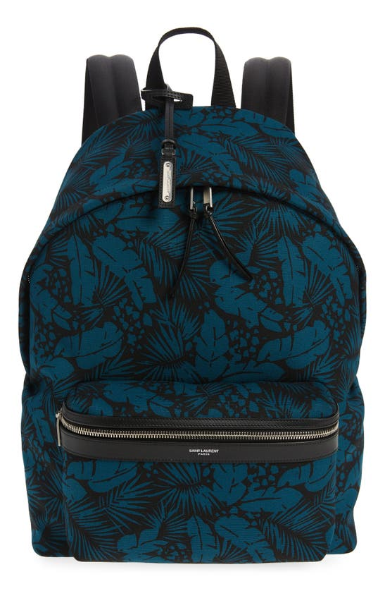 Saint Laurent Canvases PALM PRINT CANVAS BACKPACK