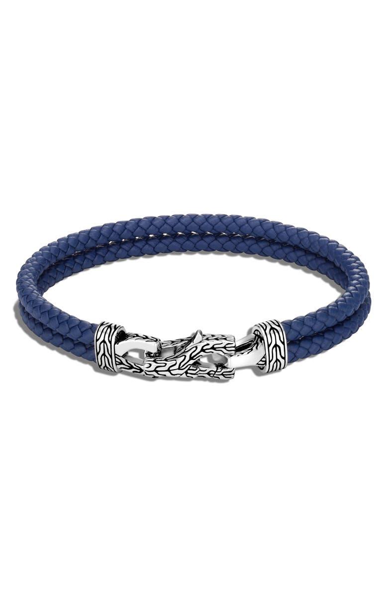 JOHN HARDY Men's Asli Classic Chain Double Woven Leather Bracelet, Main, color, SILVER/ BLUE