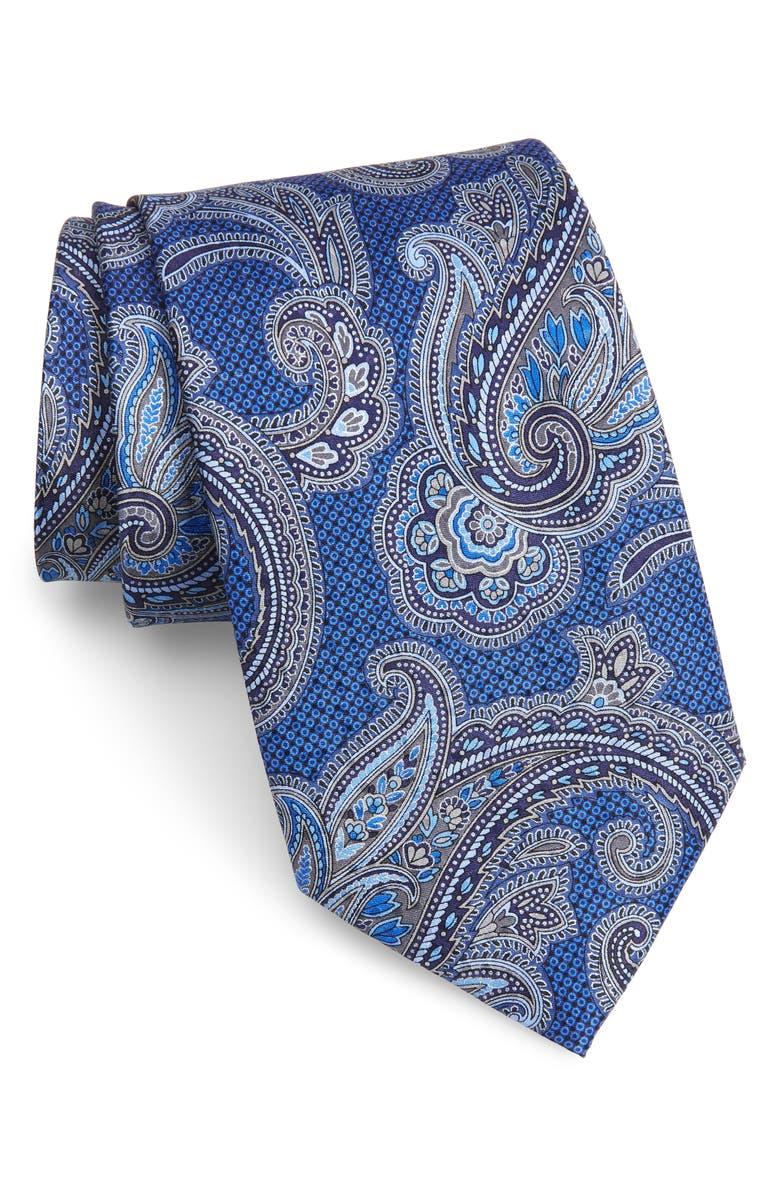 NORDSTROM MEN'S SHOP Paisley Silk X-Long Tie, Main, color, NAVY