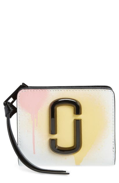 The Marc Jacobs THE SNAPSHOT SPRAY PAINT LEATHER MINI COMPACT WALLET