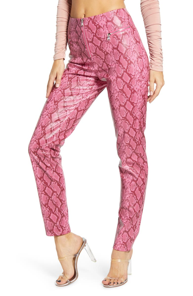 TIGER MIST Pearl Snake Print Faux Leather Pants, Main, color, PINK SNAKE