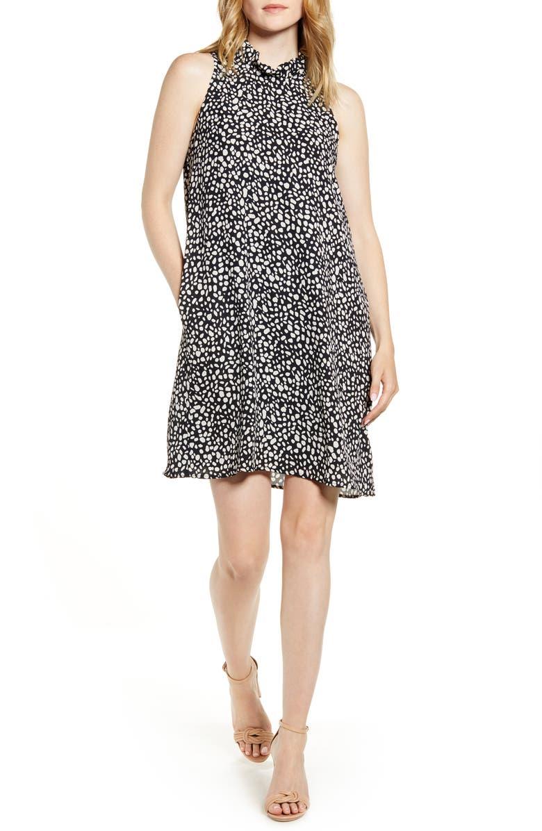 GIBSONLOOK x Hi Sugarplum! Cavallo Ruffle Neck Date Dress, Main, color, SARDINIA BLACK WHITE