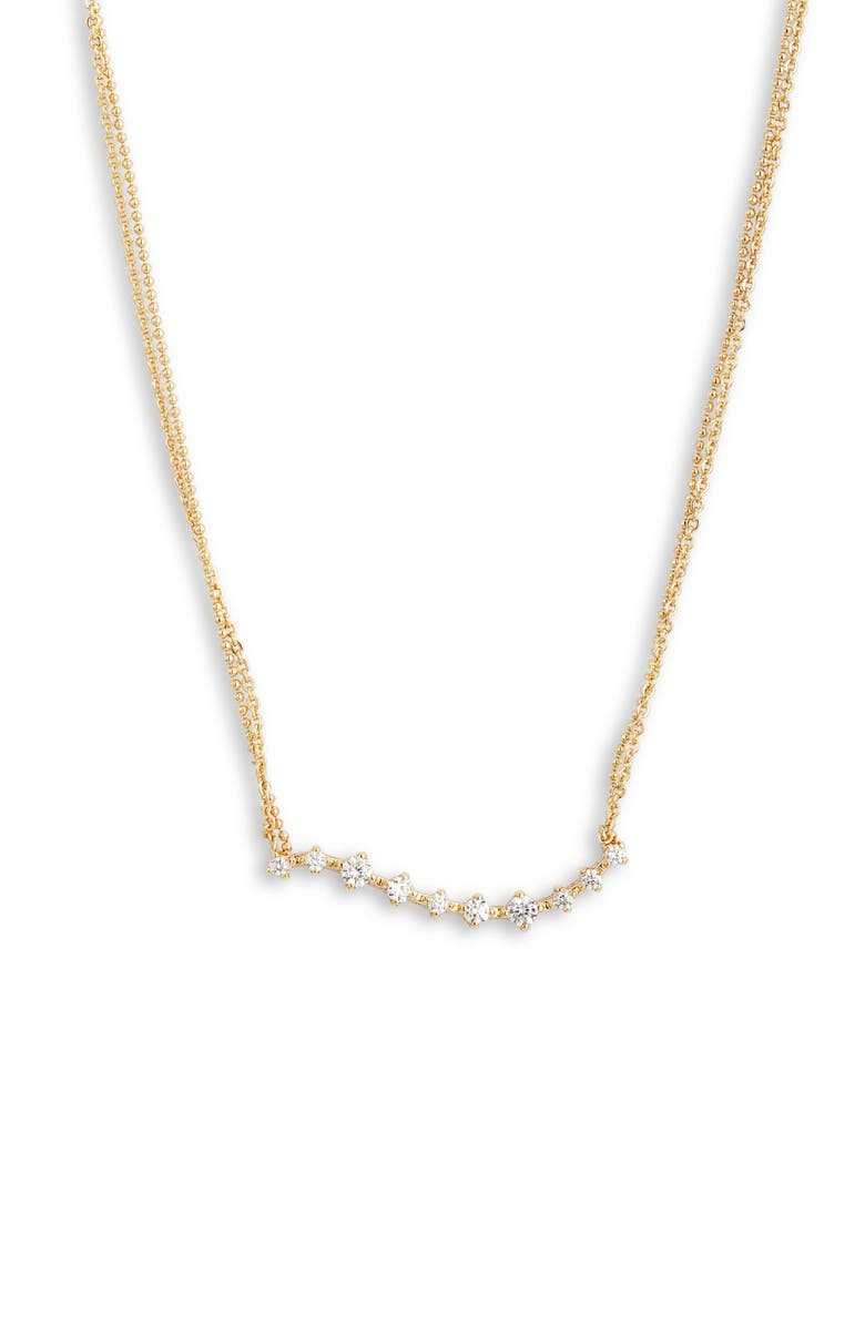 NORDSTROM Cubic Zirconia Wave Pendant Necklace, Main, color, CLEAR- GOLD
