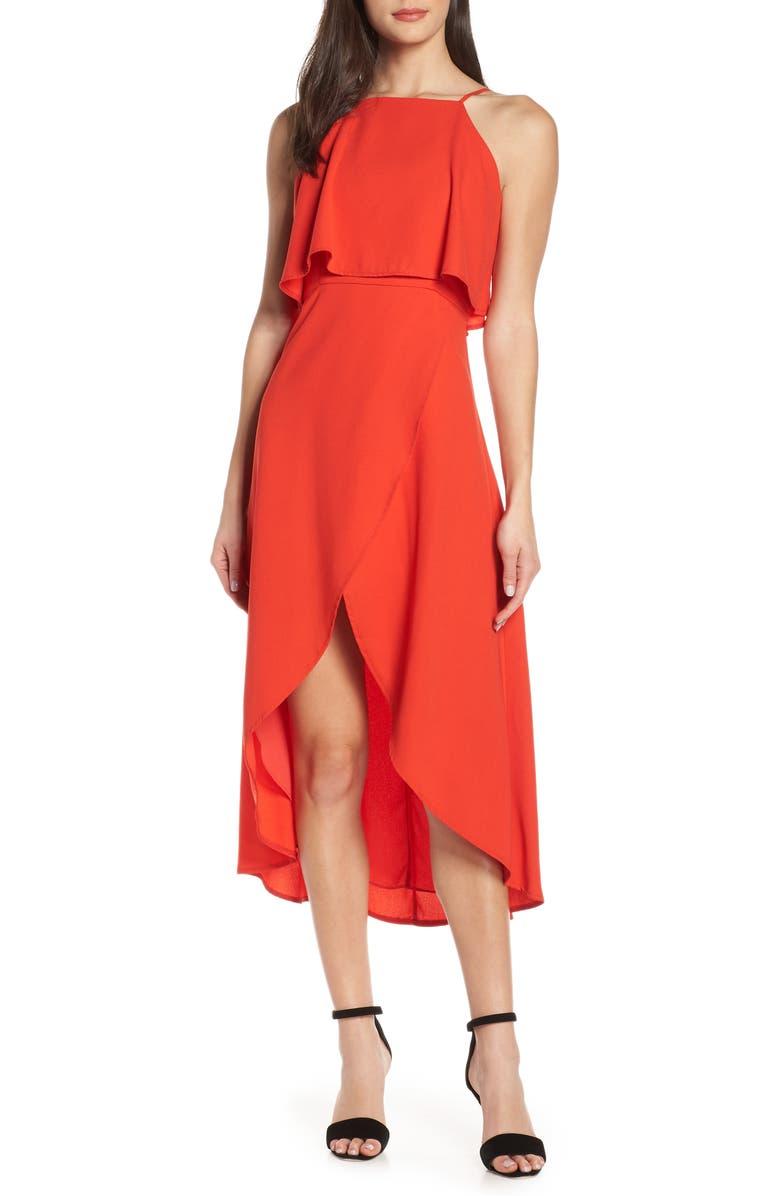 ELIZABETH CROSBY Stella High/Low Popover Dress, Main, color, RED