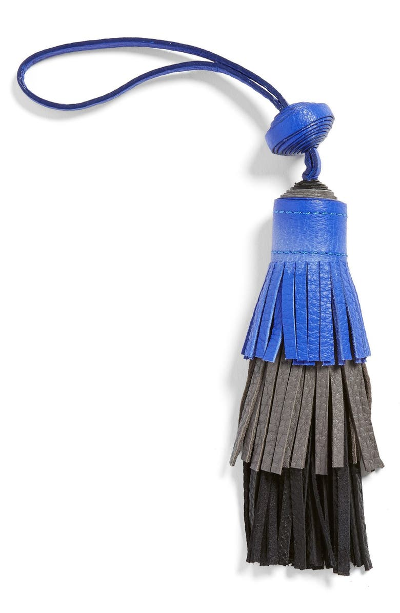 VINCE CAMUTO Tiered Leather Tassel Bag Charm, Main, color, 500