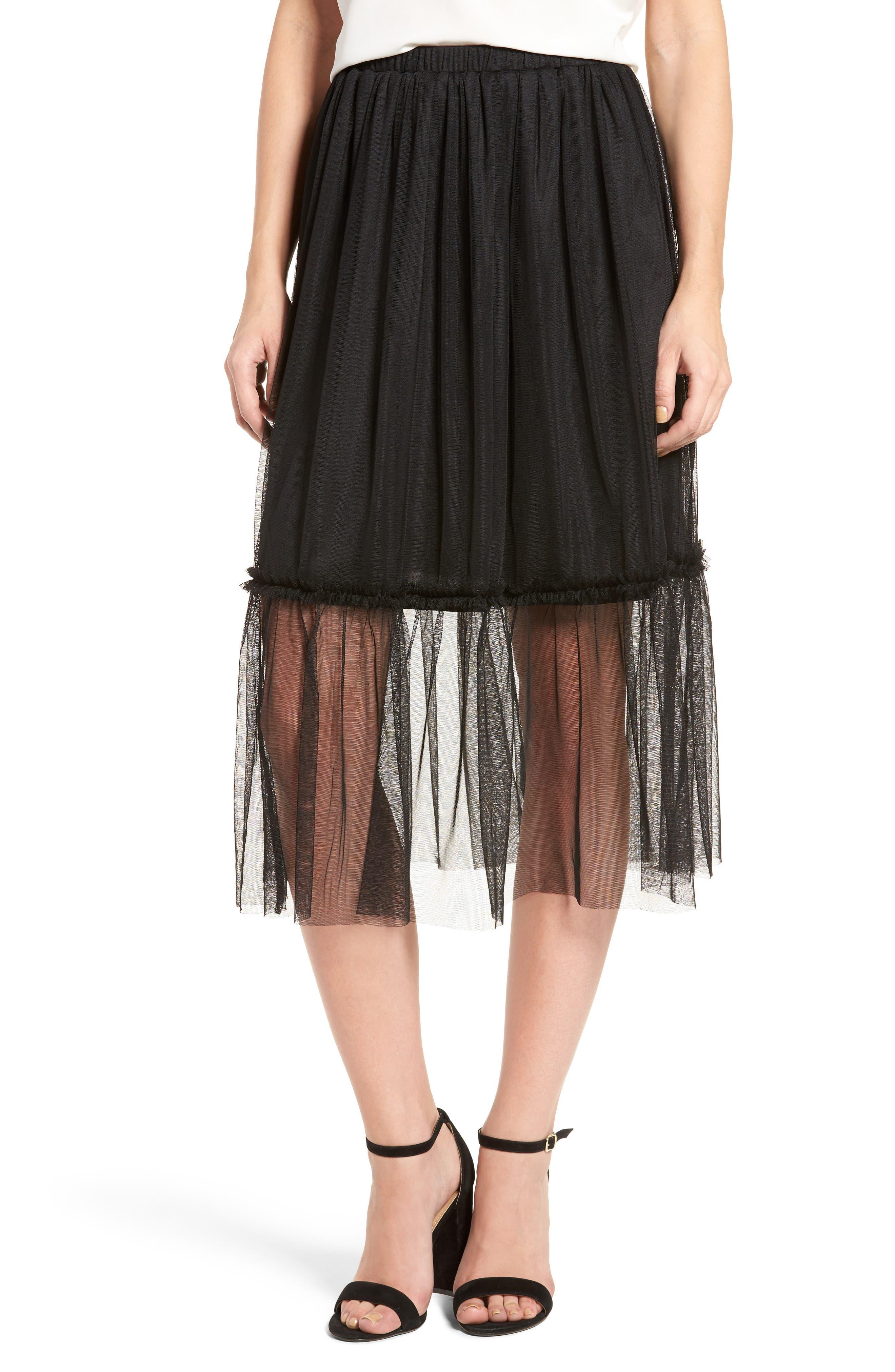 ,                             Tulle Midi Skirt,                             Main thumbnail 1, color,                             001