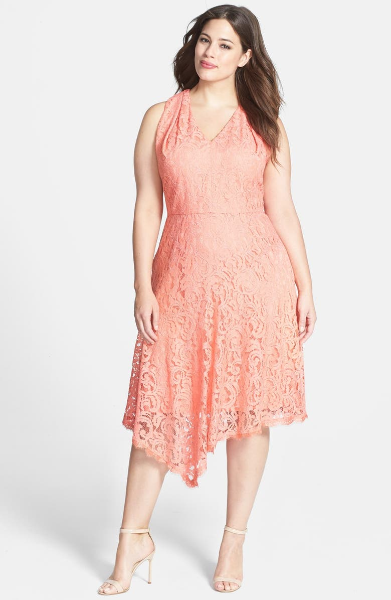 ADRIANNA PAPELL Peekaboo Detail V-Neck Lace Dress, Main, color, MELON