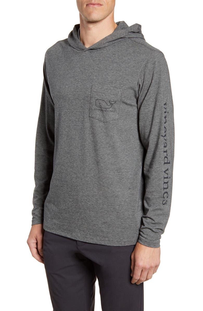 VINEYARD VINES Edgartown Performance Hooded T-Shirt, Main, color, CHARCOAL