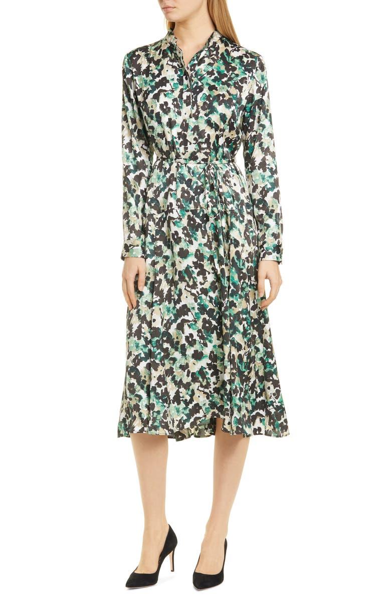 BOSS Daflora Floral Long Sleeve Shirtdress, Main, color, PINE FANTASY