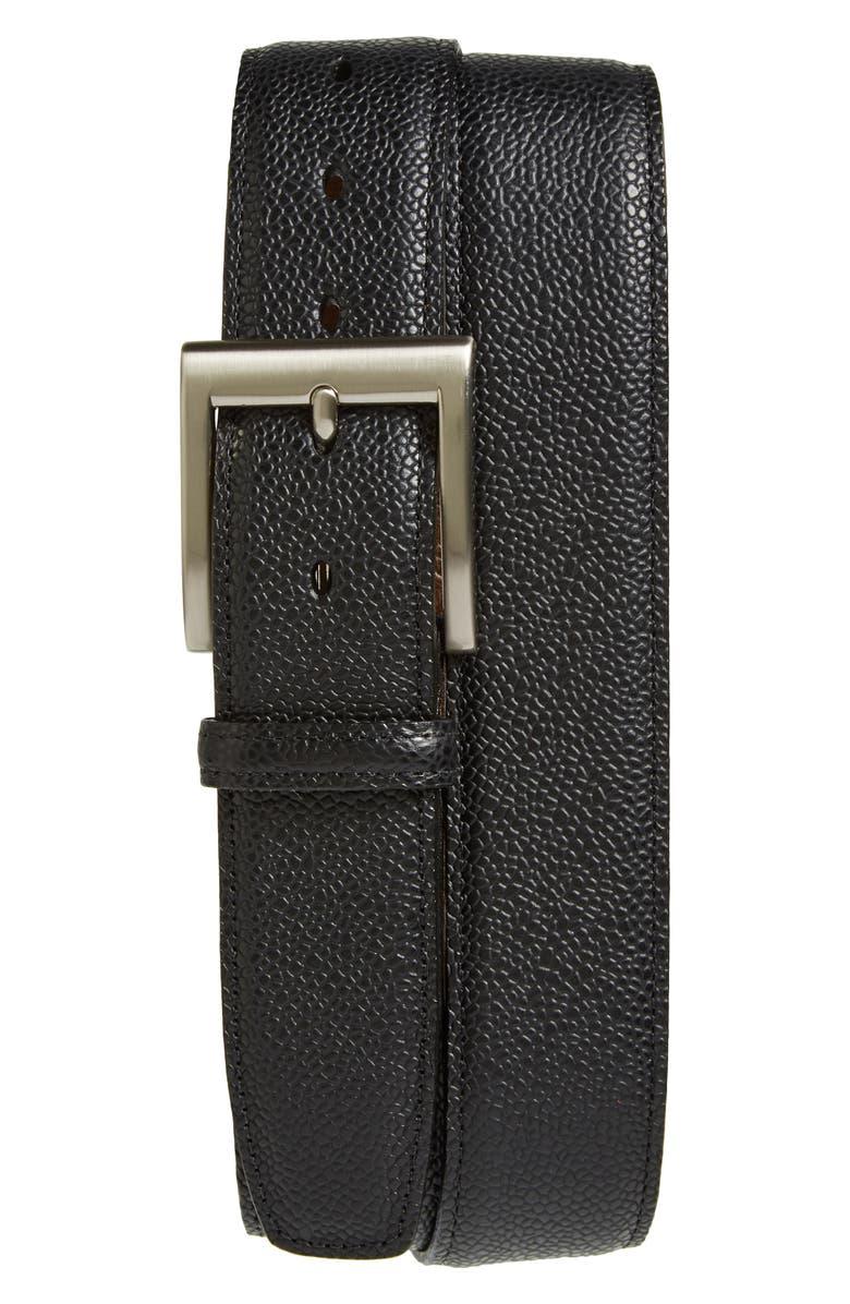 TORINO Belts Basketball Grain Leather Belt, Main, color, BLACK