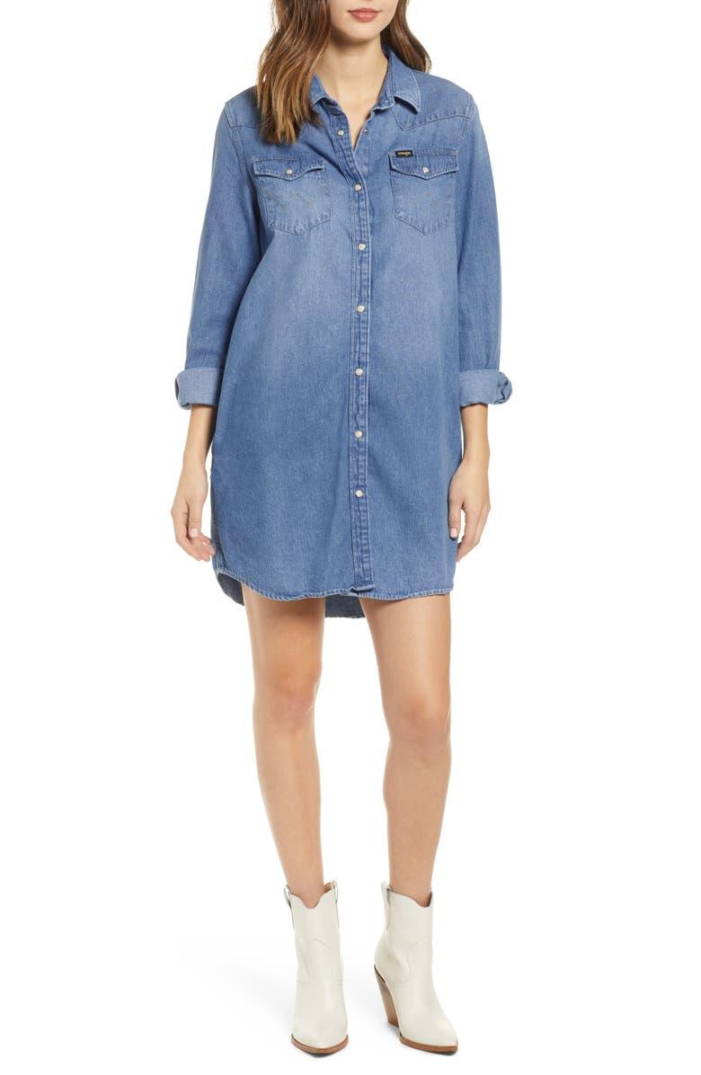 WRANGLER Chambray Shirtdress, Main, color, 400