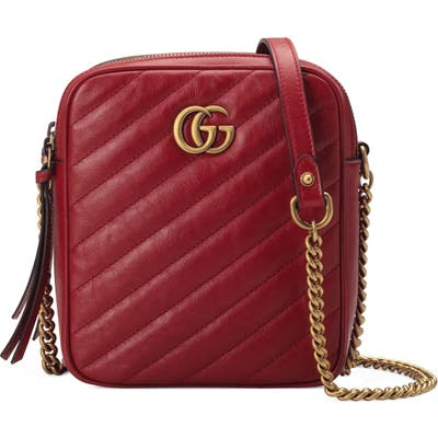 Gucci Mini Leather Crossbody Bag - Red