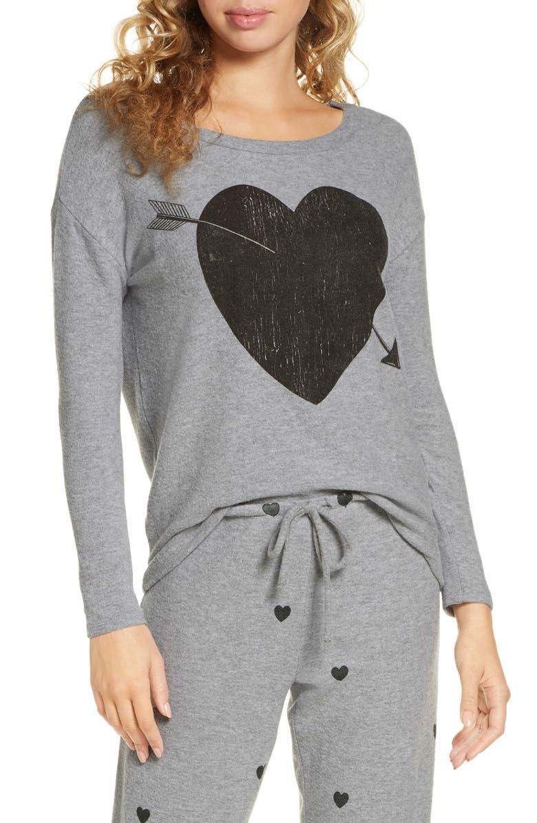CHASER Arrow Heart Cozy Sweatshirt, Main, color, H GREY