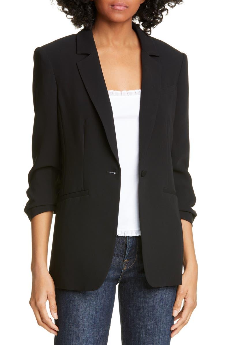 CINQ À SEPT Khloe Ruched Sleeve Blazer, Main, color, BLACK