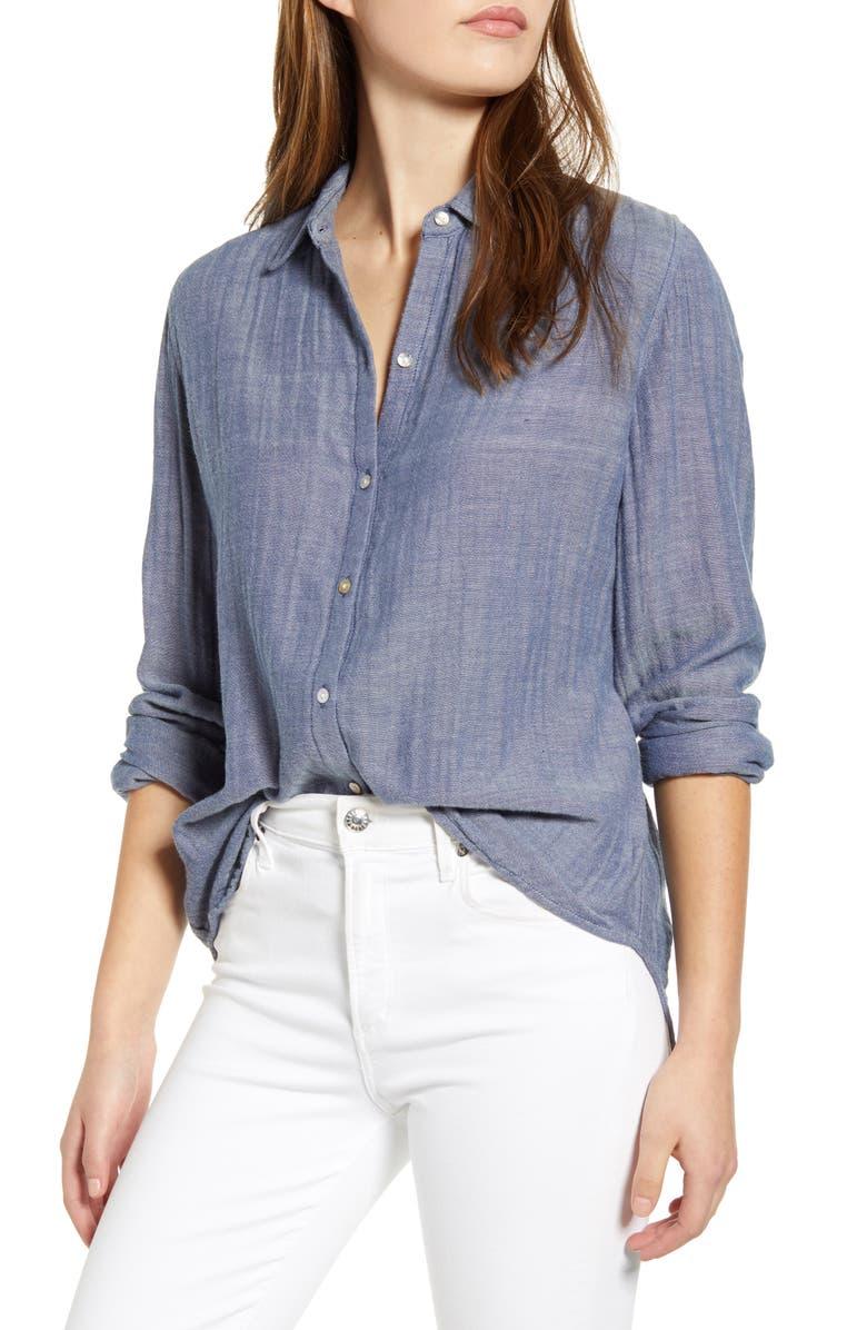 BEACHLUNCHLOUNGE James Chambray Cotton Double Cloth Shirt, Main, color, INDIGO CHAMBRAY