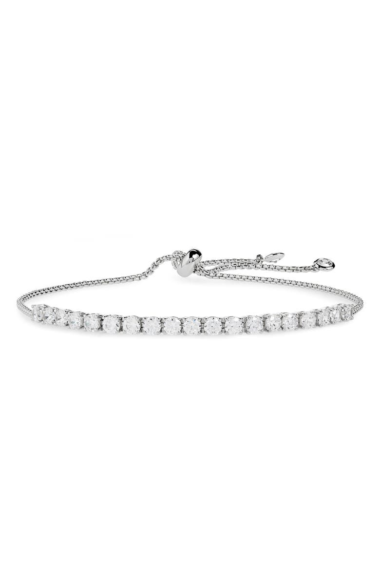NORDSTROM Cubic Zirconia Tennis Slider Bracelet, Main, color, CLEAR/ SILVER