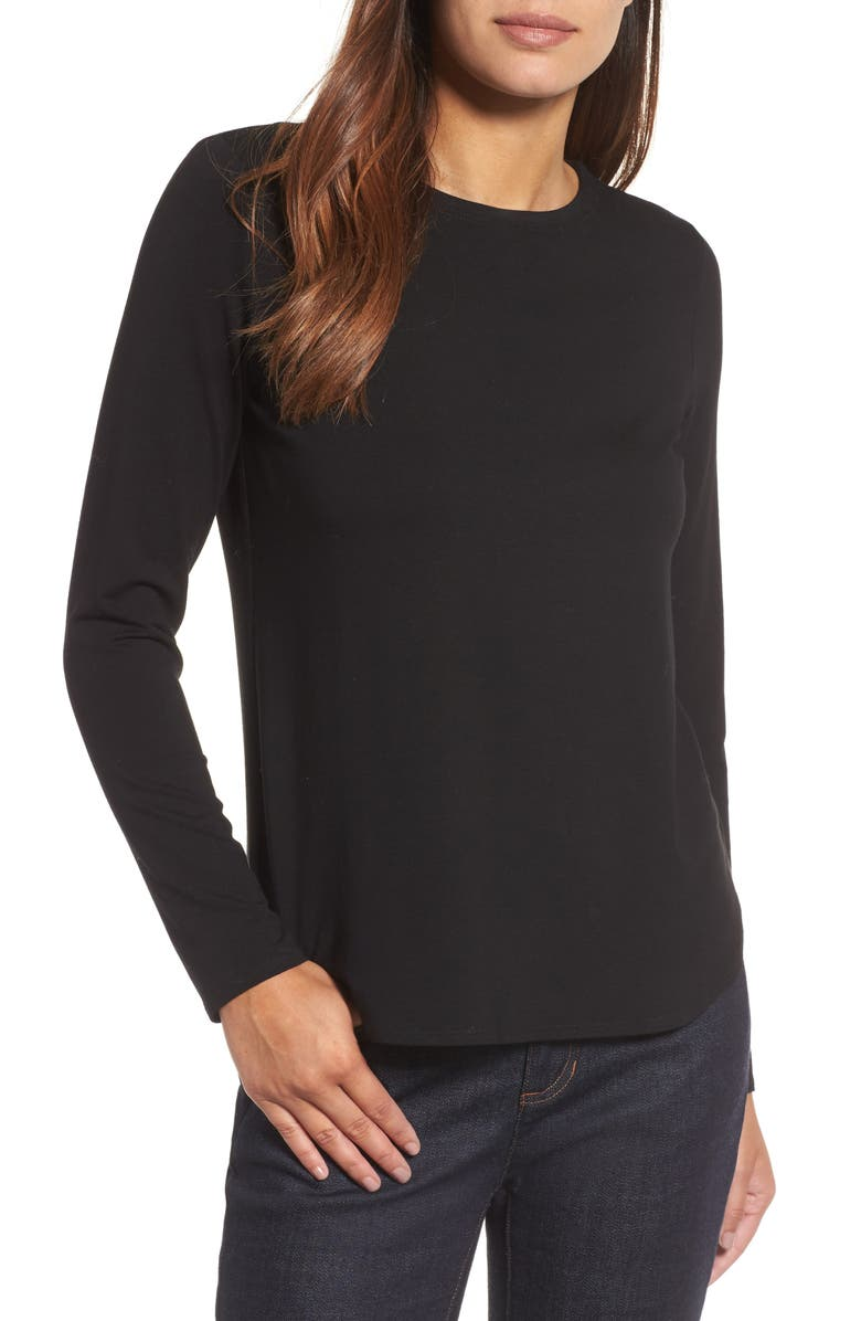 EILEEN FISHER Crewneck Top, Main, color, 001