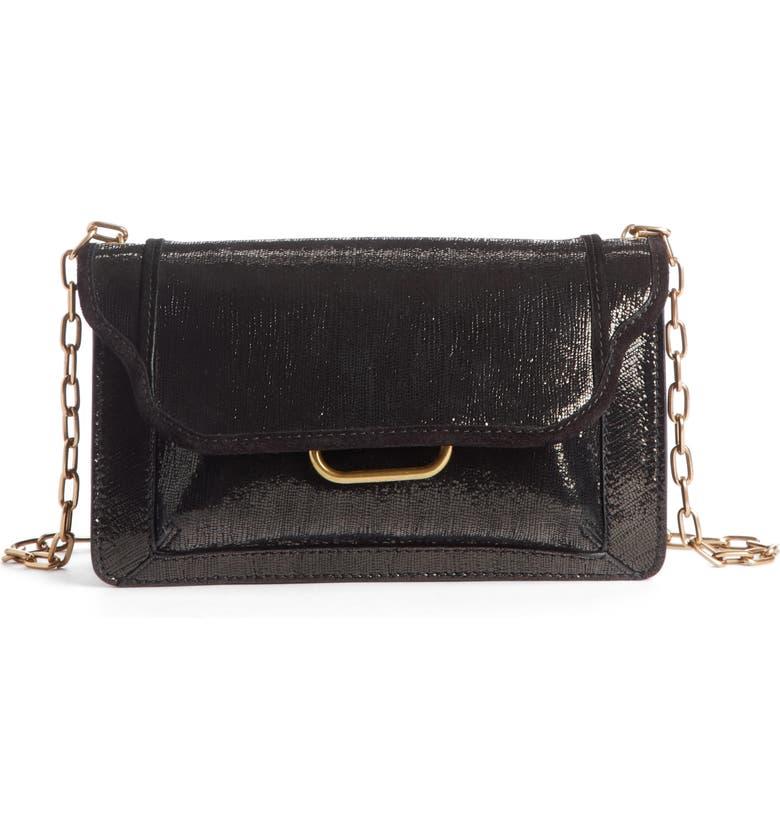 ISABEL MARANT Skamy Leather Crossbody Bag, Main, color, BLACK