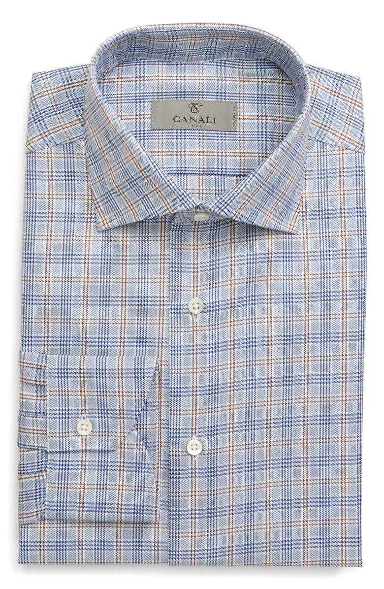 CANALI Slim Fit Non-Iron Plaid Dress Shirt, Main, color, 400