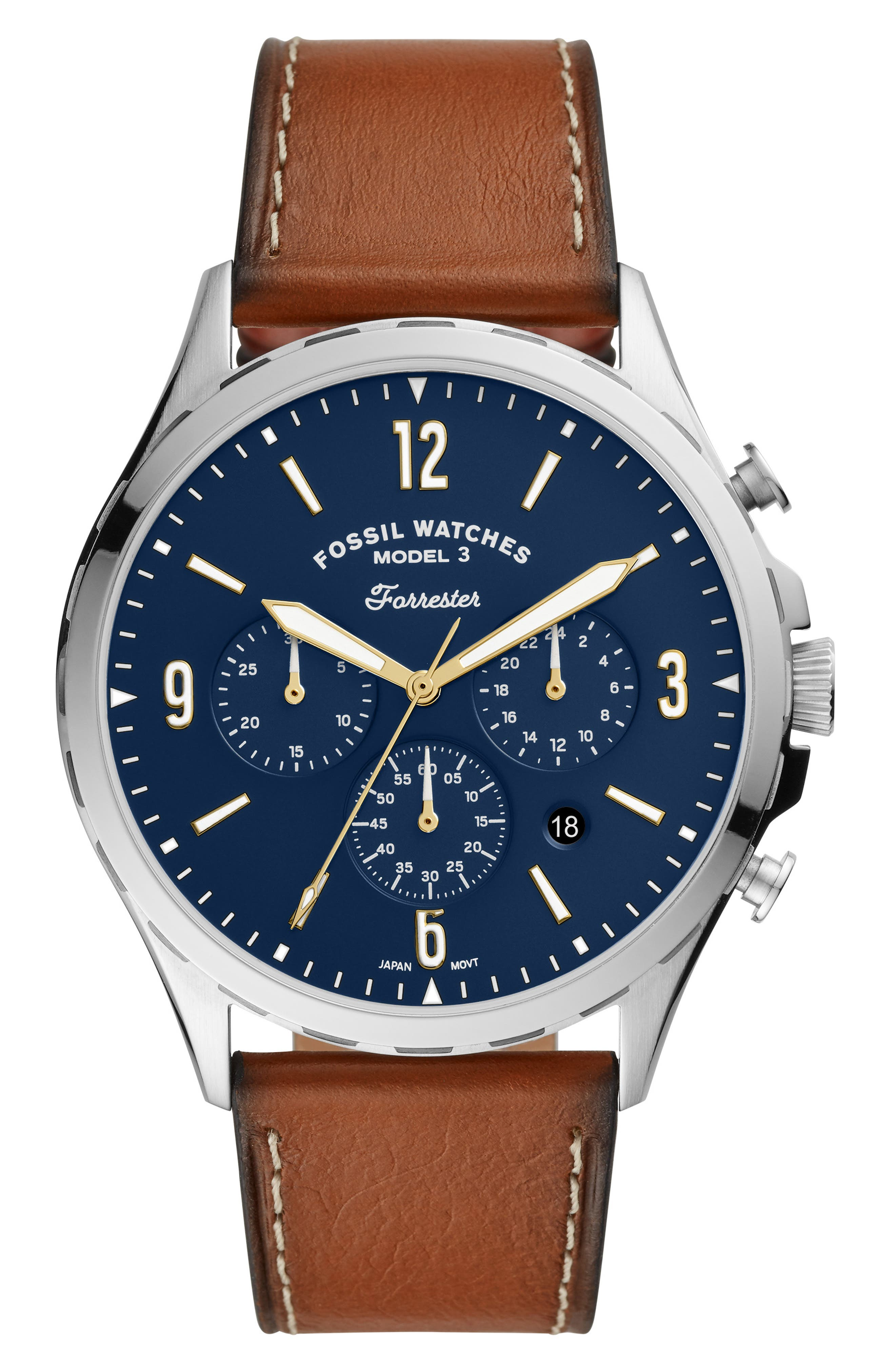 Forrester Chronograph Leather Strap Watch