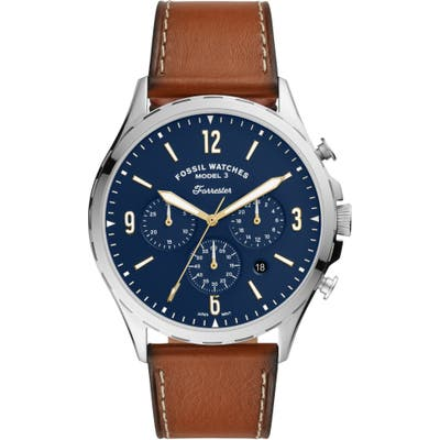 Fossil Forrester Chronograph Leather Strap Watch, 4m