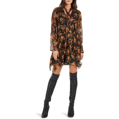 Cooper St Fortune Long Sleeve Minidress, Black