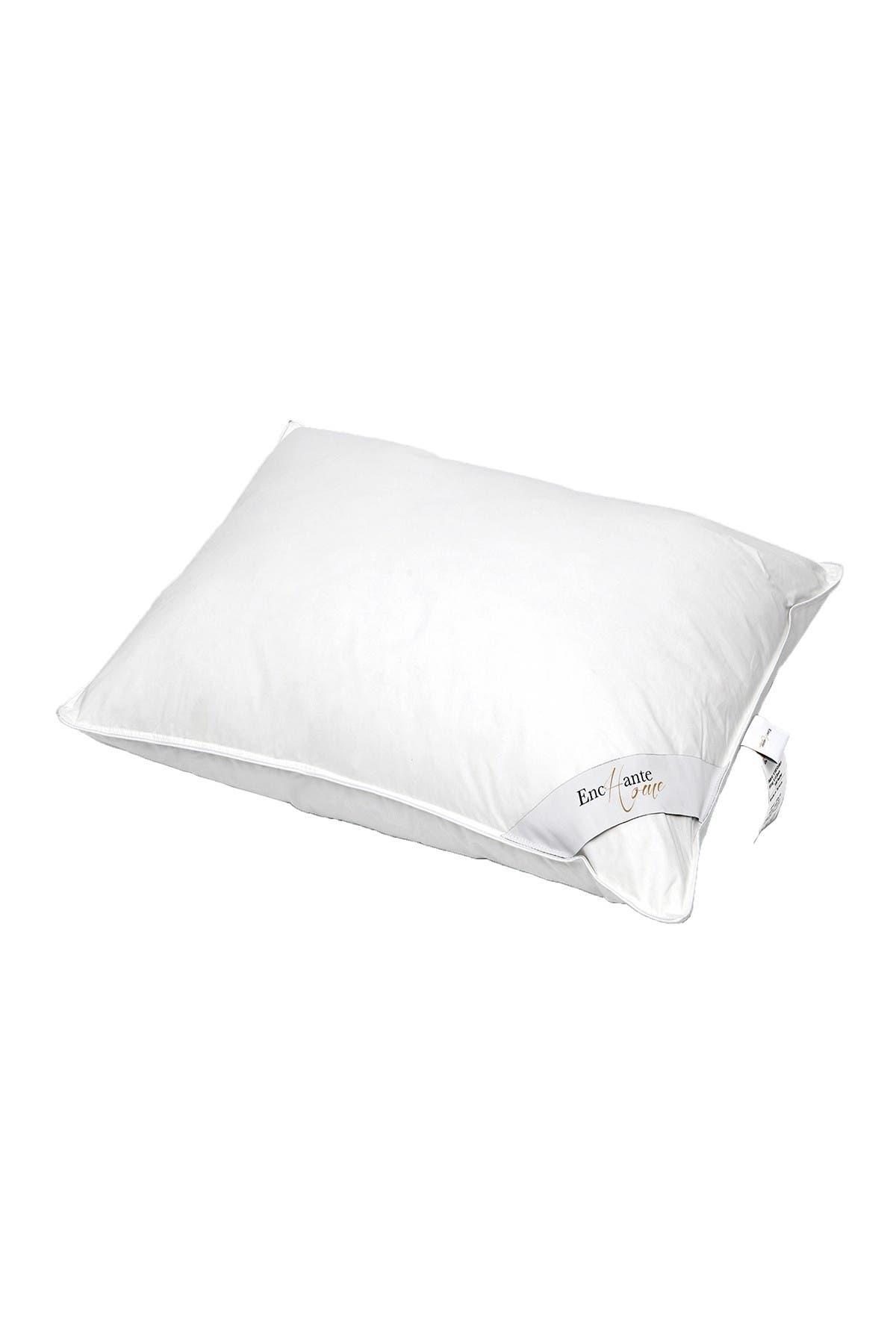 Image of ENCHANTE HOME Luxury European Down Medium Density Queen Size Feather Pillow - White