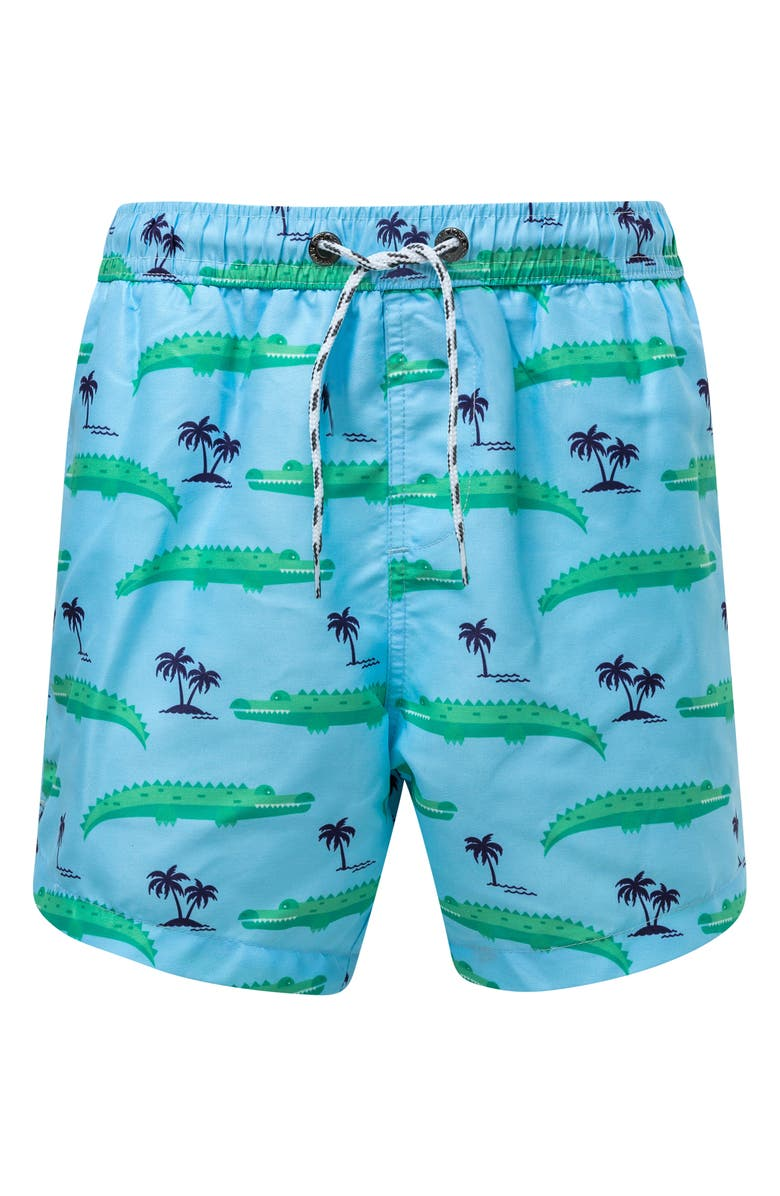 SNAPPER ROCK Croc Island Swim Trunks, Main, color, LIGHT PASTEL BLUE
