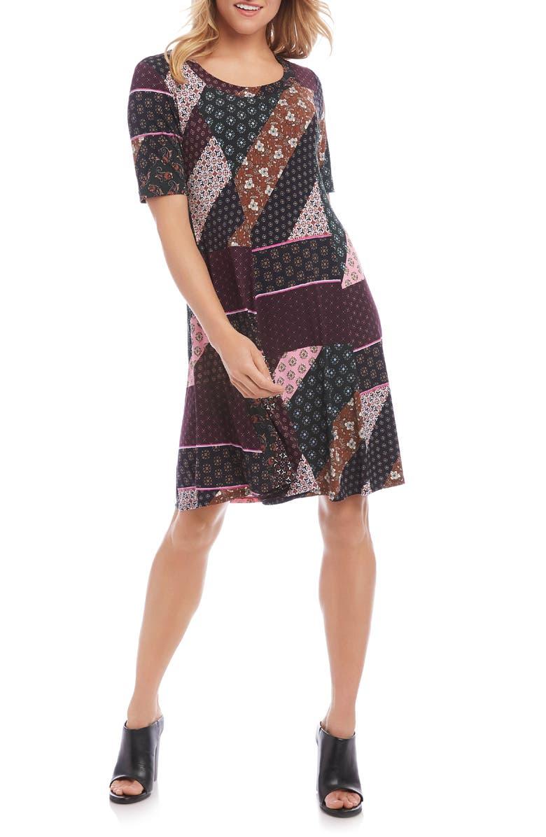 KAREN KANE Patchwork A-Line Dress, Main, color, 560